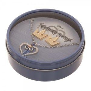 Kingdom Hearts Jewelry Set Earrings Necklace Crown
